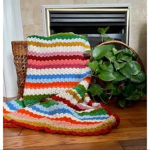 Bohemian Striped Hand Knit Throw Blanket Multi-Colored